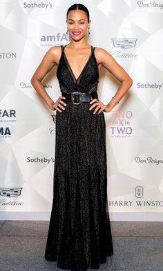 Zoe Saldana in Elie Saab attends the Two x Two for Aids and Art Gala. #bestdressed