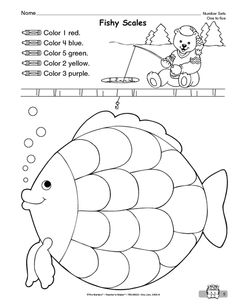 Color by number rainbow fish printable! #crafts #kids