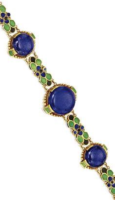 18 Karat Gold, Lapis Lazuli and Enamel Bracelet, Tiffany & Co., designed by…