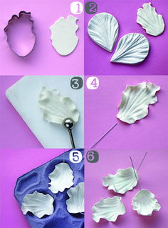 Sugar Flowers Step by Step Cute Polymer Clay, Polymer Clay Flowers, Polymer Clay Crafts, Polymer Clay Jewelry, Fondant Flower Tutorial, Fondant Flowers, Sugar Flowers, Handmade Flowers, Diy Flowers