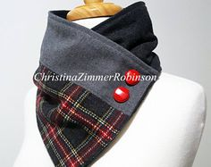 Scarf, Neck Warmer, Wrap, Upcycled Clothing, Repurposed Charcoal Gray and Plaid Fabric with Red Buttons  Christina Robinson Neck Warmers  www.FashionCogs.Etsy.com