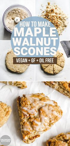 Learn how to make the BEST vegan scones! These Vegan Maple Walnut Scones are soft, fluffy and moist on the inside with a crispy exterior. Incredibly easy and healthy scones to enjoy for breakfast or as a snack! Gluten Free Bagels, Gluten Free Desserts, Vegan Gluten Free, Healthy Gluten Free Snacks, Dairy Free, Scones Vegan, Healthy Scones, Vegan Pastries, Vegan Muffins