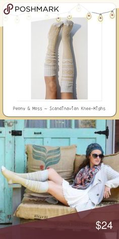 """BOGO Peony & Moss Scandinavian Knee Socks  BOGO 1/2 OFF see Sale Post in my closet for more details   I'm officially addicted to Peony & Moss socks!! This listing is for (1) pair of Peony & Moss Scandinavian knee high boot socks...color is """"Ivory""""...they're high quality and absolutely adorable! 53% Cotton; 30% Acrylic; 15% Polyester; 1% Nylon; 1% Spandex ❌ PRICE IS FIRM UNLESS BUNDLED ❌ Peony and Moss Accessories Hosiery & Socks"""