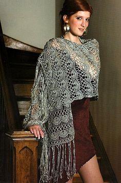 #Gray Long Fringe Stole free crochet graph pattern Shawl for women #2dayslook #new style fashion #Shawlstyle www.2dayslook.com