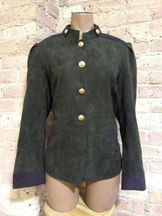 Susan Graver Army Green Military Jacket size Medium Gold Buttons M 8 10 #SusanGraver #Military
