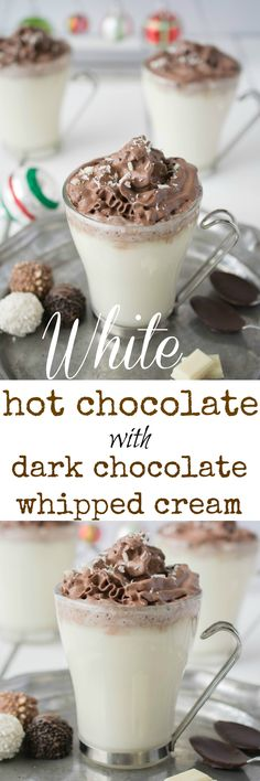 White hot chocolate with dark chocolate whipped cream piped on the top. It's a…
