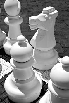 Chess pieces for very large people like the jolly Green Giant