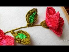 Beautiful Stump Hand Embroidery Work - YouTube Basic Embroidery Stitches, Hand Embroidery Tutorial, Rose Embroidery, Silk Ribbon Embroidery, Embroidery Patterns, Rose Tutorial, Simple Rose, Embroidered Flowers, Beautiful Hands