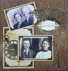 Descendants of Henry Wilson Miles ~ Simply designed heritage page with a richly colored inked background and chipboard embellishments