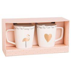 2 mugs en porcelaine blanche imprimée doré | Maisons du Monde