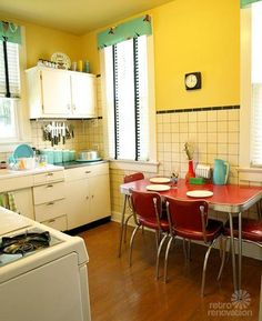 Mixing old & older: Kristen and Paul create an artsy, retro home on a shoestring budget - Retro Renovation - vintage retro kitchen – yellow, turquoise and red Informations About Mixing old & older: Kristen a - Kitchen Dining, Kitchen Decor, Kitchen Cabinets, White Cabinets, Kitchen Faucets, Yellow Kitchen Walls, Yellow Walls, Yellow Kitchens, Kitchen Colors