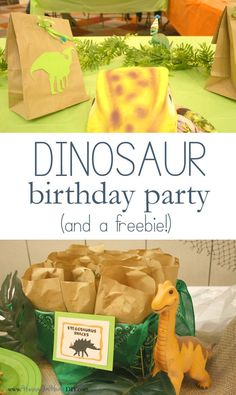 Visit hunnyimhomediy.com to check out my dinosaur birthday party and get access to free printable dinosaur party food labels!