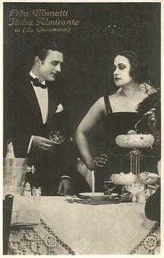 Italian postcard. G.B. Falci, Milano. Italia Almirante Manzini and Lido Manetti in La chiromante/The Fortune Teller (Mario Almirante 1921).  Lido Manetti aka Arnold Kent (1899-1928) was an Italian actor who first had a prolific career in Italian silent cinema. Brought to America as a young leading man, he died before living up to his promise. Italia Almirante Manzini(1890-1941) was one of the divas of the Italian silent cinema. She starred in the classic epic Cabiria (1914)...