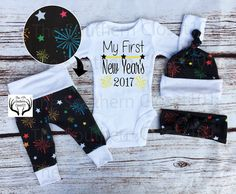 Unisex Coming Home Outfit,My First New Year's 2017,Baby New Year's Outfit, 2017 Outfits,Orange,Black,Blue,Red,Green,Pink,Purple,Fireworks