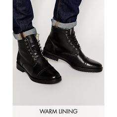 ASOS Boots in Black Leather with Borg Lining ($36) ❤ liked on Polyvore featuring men's fashion, men's shoes, men's boots, black, mens black leather shoes, mens leather shoes, mens fur lined shoes, mens leather lace up shoes and mens leather boots