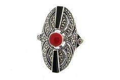 Onyx Coral Silver Marcasite Art Deco Ring at Hirst Antiques Jewellery London