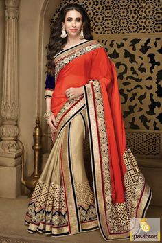 Attractive orange color georgette chiffon Karishma Kapoor bollywood saree is nicely embroidered on pallu and all over the saree. This bollywood actress saree is perfect for party function #saree, #embroiderysaree more: http://www.pavitraa.in/store/bollywood-saree/