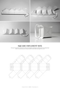 Square Ornament Box – structural packaging design dielines