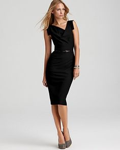 Black Halo Dress - Jackie O Belted Sheath in Stretch Gabardine | Bloomingdale's
