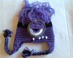 Purple Minion Crochet Pattern Free | free shipping crochet despicable me hat evil minion 26 00 usd raqsart