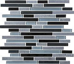 Bliss Black Timber Stone and Glass Linear Mosaic Tiles | Rocky Point Tile - Online Glass Tile and Glass Mosaic Tile Store