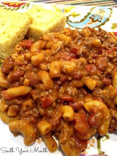 Creamy, cheesy, easy Chili Mac with ground beef, chili beans and seasoning, macaroni pasta and gobs of cheese!