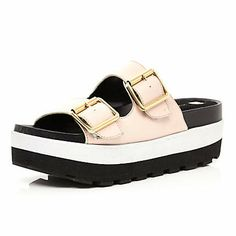 Light pink flatform mule sandals $100.00