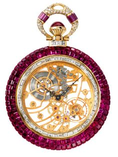 Piaget pocket watch set with diamonds and rubies