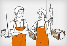Handwerker und Handwerkerin in einem Raum, in dem Bodenfliesen verlegt werden sollen – im Hintergrund Kartons mit Fliesen und diverse Werkzeuge.