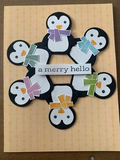 Winter Cards, Holiday Cards, Christmas Cards, Christmas Hanukkah, Handmade Christmas, Penguin Party, Stampin Up Christmas, Animal Cards, Christmas Animals
