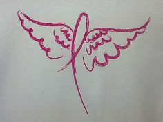 Pink Ribbon w/ Angel Wings Breast Cancer Awareness Item Support Tee S-5X T-Shirt