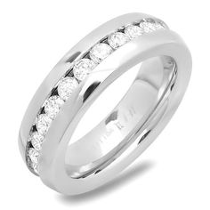 Steeltime Ladies Stainless Steel Engagement Ring with Simulated Diamonds
