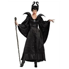 Maleficent Evil Queen Cosplay Costume Outfit Women Carnival Noble Fancy Dress CU