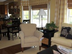 Monochromatic Living Space, Living/Dining/Kitchen Great Space - Sherwin Williams Golden Fleece on walls, Family Room Looking into Dining Area/Kitchen ...oops left the tag on  , Living Rooms Design