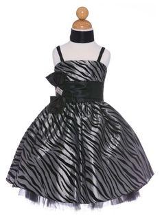 Silver Zebra Flocked Taffeta Girl Dress with Rhinestoned Bow Accent (Sizes 4-16)