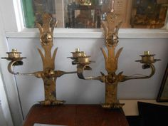 PAIR PUGIN / GOTHIC / WROUGHT IRON WALL SCONCES LIGHTS STAMPED E.B. (Edgar Brandt ?)