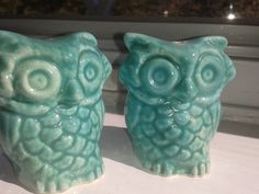 Vintage aqua owls. Thrift store find $2.   I need these!
