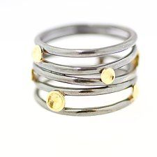 Lichen Tornado Five Band Ring by Renee Ford (Gold & Silver Ring)