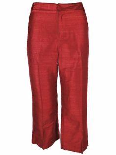 LAUREN by Ralph Lauren Women`s Cropped Silk Pants Misses 10P Red $69.99