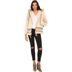 Brigitte Bailey Leonie Embroidered Hoodie w/ Faux Fur Women's... (63 CAD) ❤ liked on Polyvore featuring tops, hoodies, beige, long sleeve hoodie, zip front hoodies, drawstring hooded pullover, embroidered hoodie and faux fur hoodies