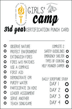 FREE LDS Girls Camp Certification Cards 3rd year
