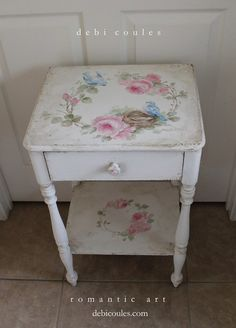 Shabby Cottage Chic Vintage Table With Bluebird and Roses by Debi Coules