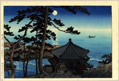 "Hasui, Kawase (1883 - 1957), ""Moon Over Izura"" / Castle Fine Arts"