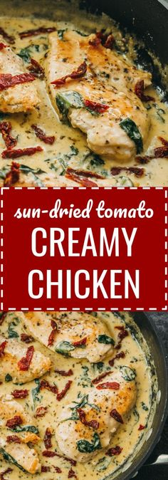 Creamy sun-dried tomato chicken with spinach and garlic: This chicken skillet dinner has garlic, sun-dried tomatoes, and spinach in a creamy buttery sauce. comfort foods / meals / gluten free / keto / low carb / diet / atkins / induction / meals / recipes