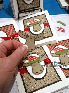 Jolly Friends stamp set and punch bundle from Stampin' Up! Christmas Moose, Christmas Card Crafts, Stampin Up Christmas, Christmas Cards To Make, Xmas Cards, Holiday Cards, Christmas Ideas, Moose Crafts, Embossed Cards