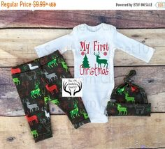 bd85a2f951dae Details about Baby Boys Carter's First Christmas Rudolph Pajamas ...