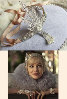 "Featured in the ""The Great Gatsby"" and Tiffany's Gatsby jewely campaign, we're proud to offer an exquisite reproduction of the headpiece worn in the film! A limited edition for The Deco Haus. Made of"