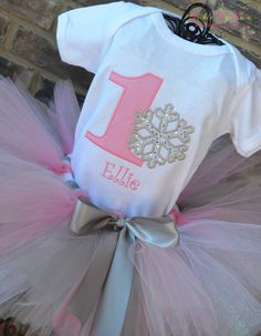Winter ONEderland Pink Snowflake Winter Themed by TickleMyTutu, $25.00