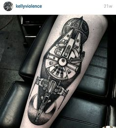 Dot work black and gray Millenium Falcon Star Wars tattoo by Kelly Violet