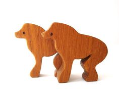 Wooden Baboon Toy Animals Miniature Wooden Noah's Ark  Animal Pairs Zoo Play Set Hand Cut Scroll Saw